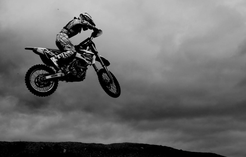 Фото обои white, black, jump, Motocross