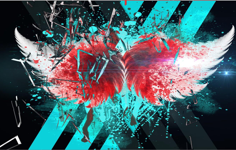 Фото обои blood, glass, line, wings, broken glass