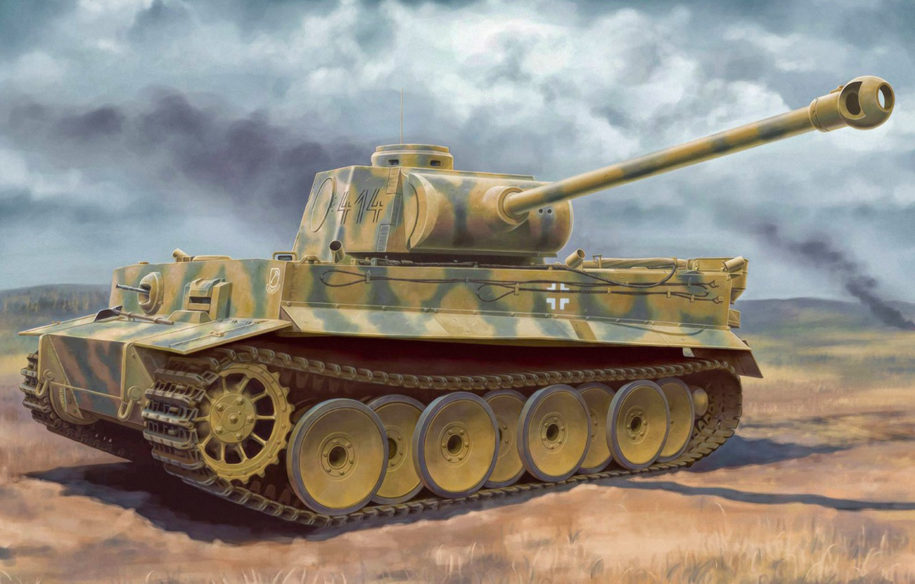 Фото обои war, art, painting, tank, ww2, Tiger I Ausf.H2 7.5cm KwK 42