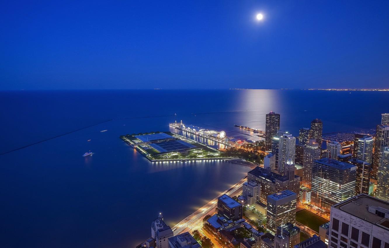 Фото обои озеро, побережье, здания, Чикаго, Иллинойс, ночной город, Chicago, Illinois, небоскрёбы, озеро Мичиган, Lake Michigan, Streeterville, …