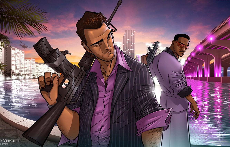 Фото обои Art, GTA, Tommy Vercetti, Patrick Brown, Grand Theft Auto, Vice City