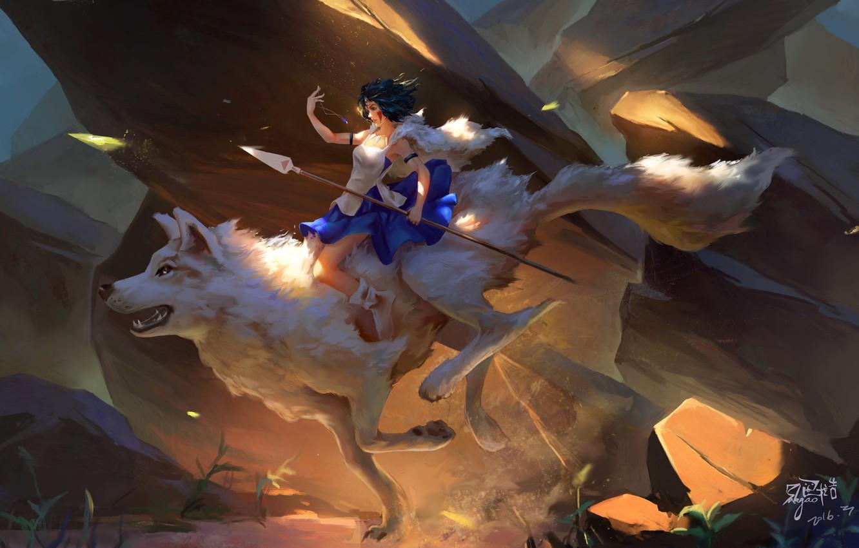 Фото обои белый, камни, тепло, скалы, волк, пыль, платье, всадница, кулон, цепочка, копьё, princess, dota 2, mononoke, …