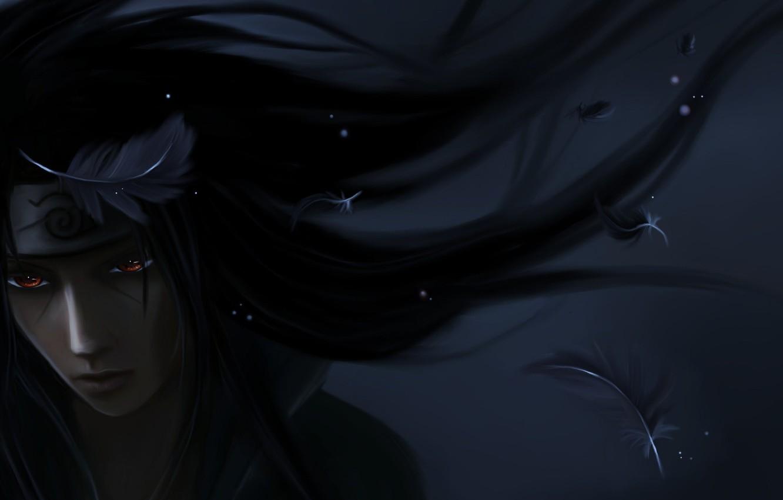 Фото обои темно, перья, арт, парень, Naruto, бандана, Itachi Uchiha