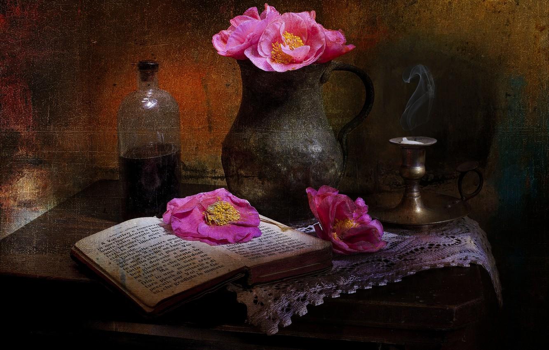 Обои книги, стиль, винтаж, цветы, кувшины. Разное foto 7