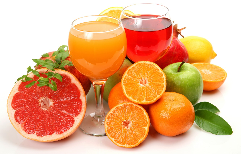 Фото обои лимон, яблоки, апельсины, фрукты, цитрусы, грейпфрут, гранат, соки