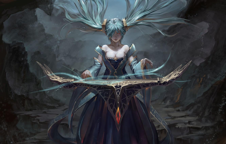 Фото обои взгляд, девушка, магия, арт, league of legends, sona