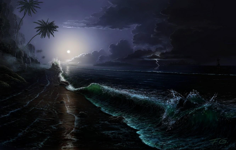 Фото обои море, волны, ночь, тучи, камни, пальмы, скалы, луна, побережье, молния, корабль, остров, парусник, буря, арт, …