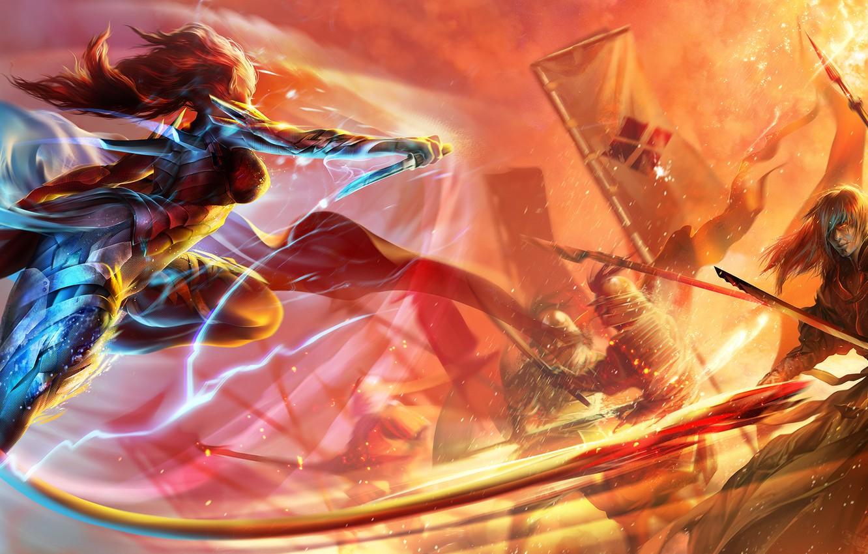 Фото обои девушка, оружие, молния, армия, арт, кинжал, парень, эльфийка