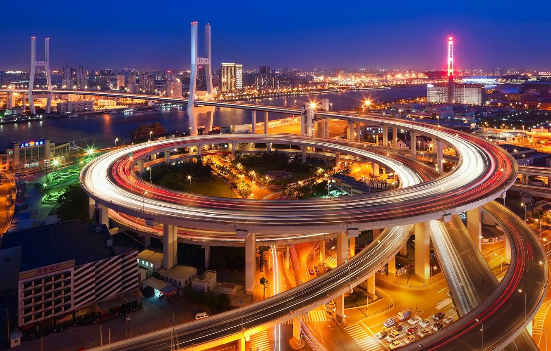Обои трассы, дома, Япония, путепровод. Города foto 14