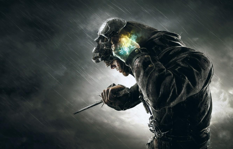 Обои корво, дождь, Dishonored, тучи, мрак. Игры foto 6