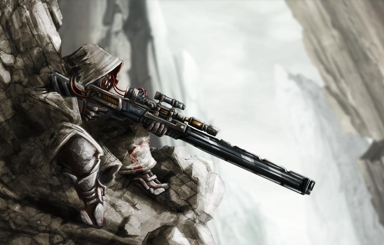 Фото обои скалы, провода, арт, капюшон, снайпер, винтовка, sniper