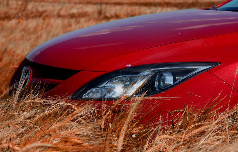 Фото обои Красная, Колосья, Фары, Mazda 6