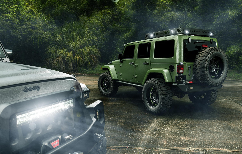 Фото обои Light, Jungle, Cars, Green, Black, Rain, Wrangler, Jeep, Rear, Off Road