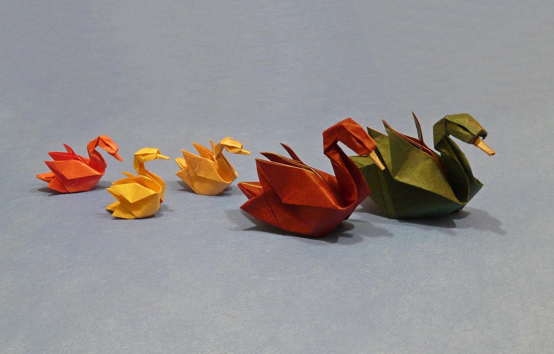 Фото обои бумага, фон, лебеди, оригами
