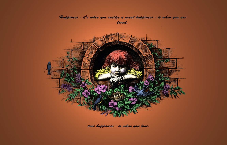 Фото обои цветы, птицы, рыжий, девочка, слова