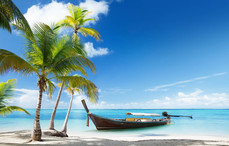 Фото обои море, пляж, пейзаж, природа, лодка, Таиланд, beach, sea, boat, palms, tropical