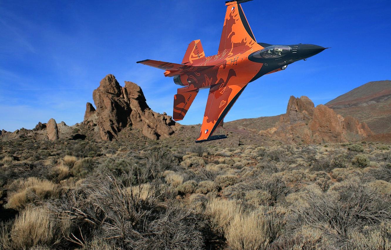Обои Самолёт, fighting falcon, вираж, истребитель, Пейзаж. Авиация foto 6