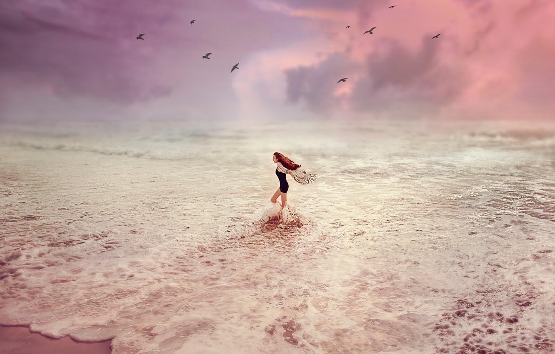 Фото обои Закат, Море, Девушка, Волны, Птицы