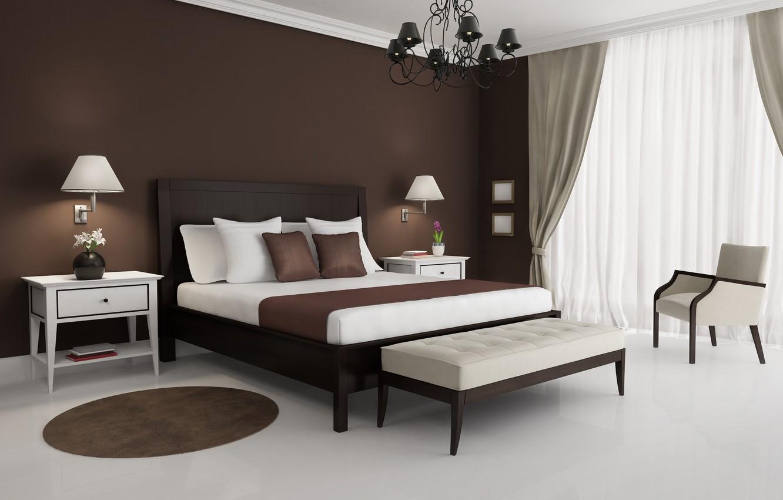 Фото обои белый, дизайн, стиль, лампы, кровать, интерьер, кресло, коврик, коричневый, столик, спальня, люстры