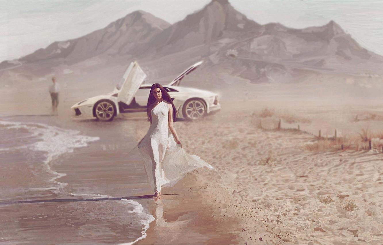 Фото обои море, машина, девушка, побережье, арт, парень, porsche