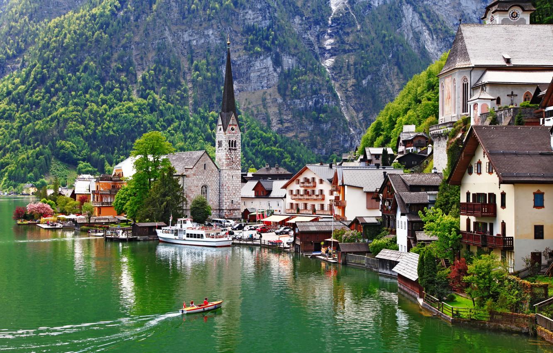 Фото обои пейзаж, горы, природа, озеро, здания, дома, лодки, Австрия, Альпы, церковь, горный, Salzkammergut, Hallstatt, Österreich, массив, …