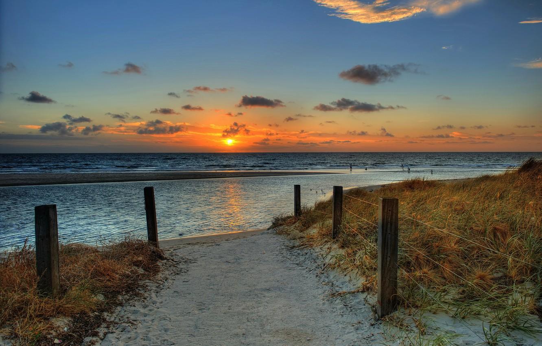 Фото обои песок, море, пляж, небо, солнце, пейзаж, закат, природа, океан, рассвет, beach, sky, sea, ocean, landscape, ...