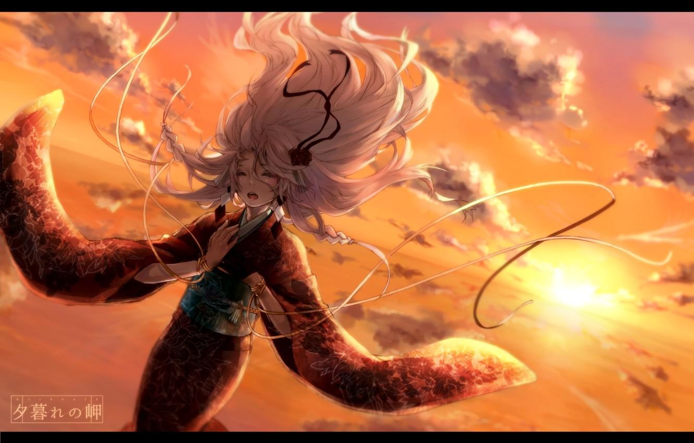 Фото обои небо, девушка, солнце, облака, закат, аниме, арт, кимоно, vocaloid, natuiro