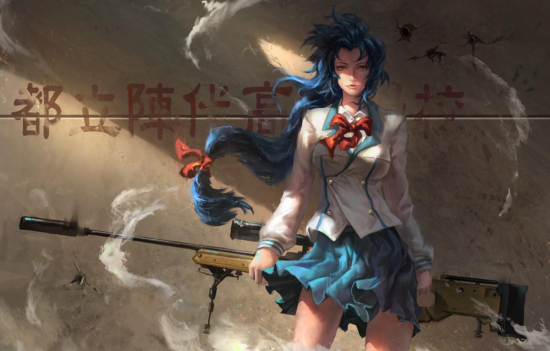 Фото обои девушка, стена, аниме, тени, girl, wall, школьница, иероглиф, school uniform, школьная форма, anime, синие волосы, …