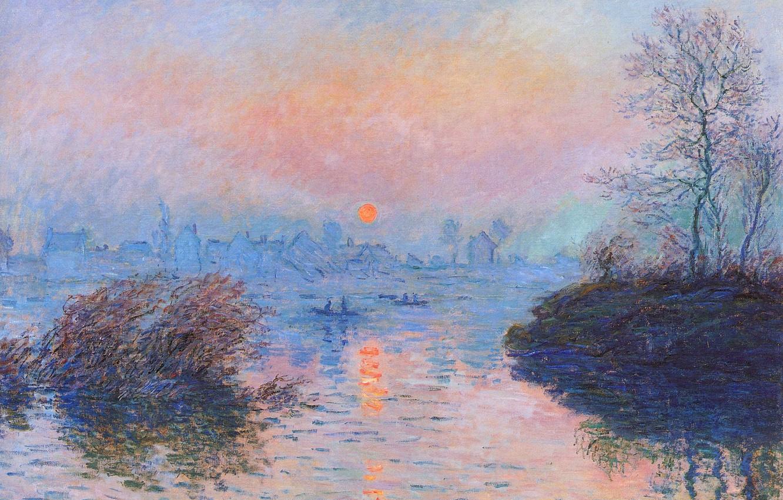 Обои Закат на Сене, Клод Моне, парус, лодка, Пейзаж, картина. Разное foto 7
