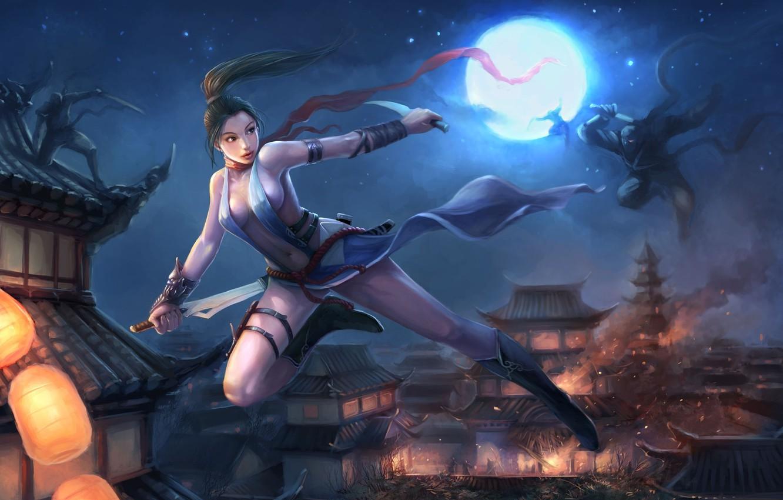 Фото обои крыша, девушка, оружие, пожар, дома, погоня, ниндзя, мечи