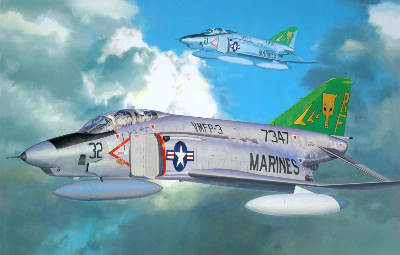 Фото обои небо, облака, истребители, США, ВВС, McDonnell Douglas, перехватчики, разведчики, палубные, тактические, RF-4B Phantom II