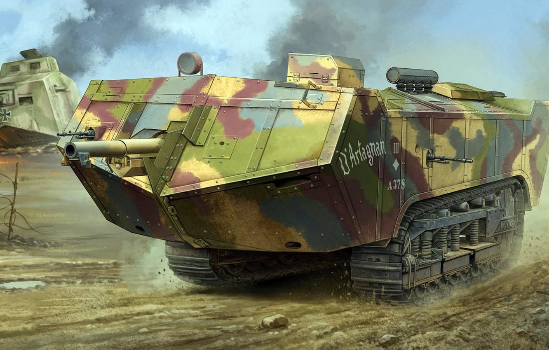 Фото обои рисунок, Saint Chamond, Сен-Шамон, французский танк