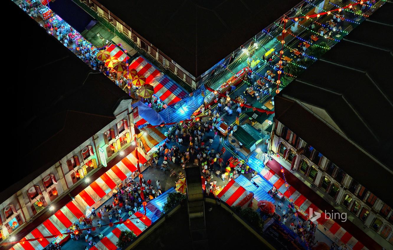 Обои перекресток, ночь, улица, дома, люди, Китайский квартал. Города foto 6