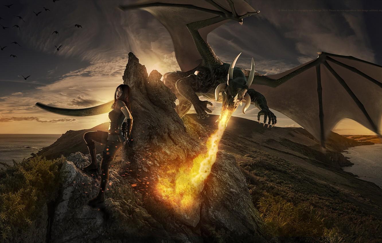 Фото обои девушка, фантастика, дракон