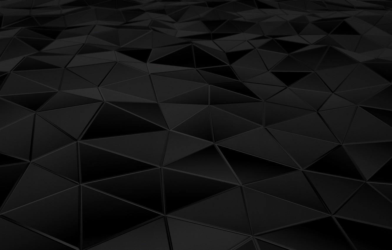 Фото обои поверхность, абстракция, треугольники, грани, black, рендер