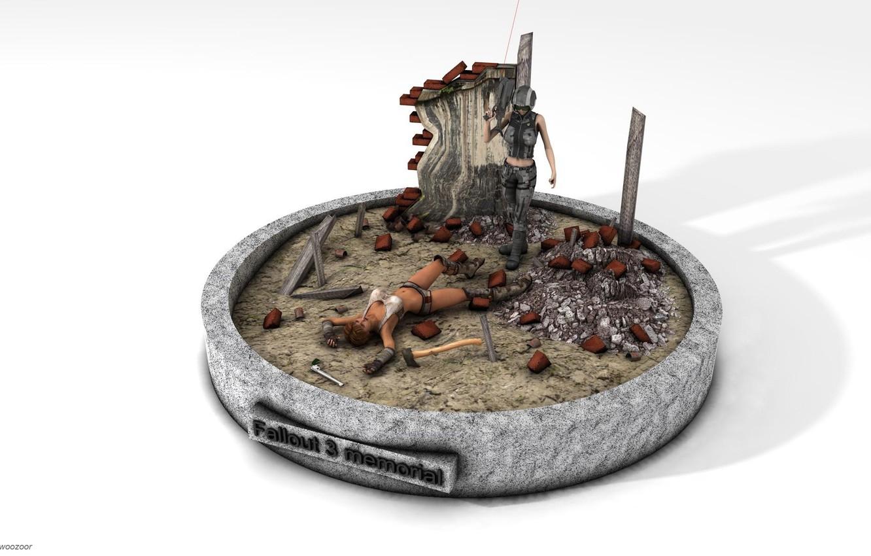 Фото обои игры, минимализм, белый фон, fallout 3