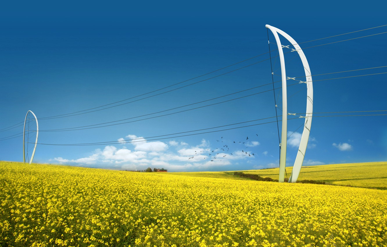 Фото обои Поле, Будущее, Энергия, ЛЭП, Энергетика