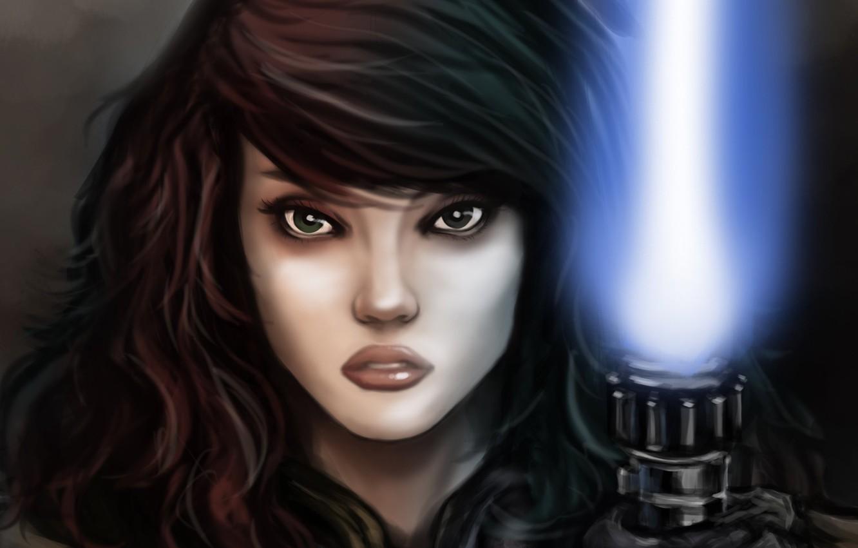 Фото обои взгляд, девушка, арт, Звездные войны, персонаж, Mara Jade, Мара Джейд