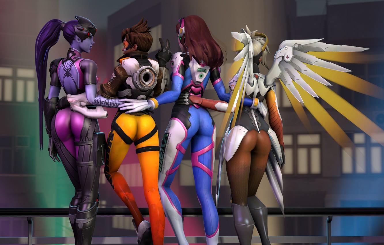 Фото обои попа, девушка, рендеринг, Tracer, overwatch, Widowmaker, Lena Oxton, Amélie Lacroix, Mercy, D.Va, Hana Song, Angela ...