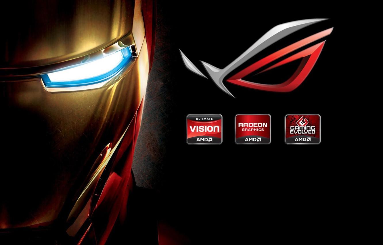 Фото обои логотип, железный человек, бренд, hi-tech, Iron man, company, brand, mask, tony stark, Asus.