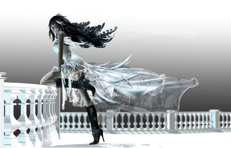 Фото обои девушка, платье, балкон
