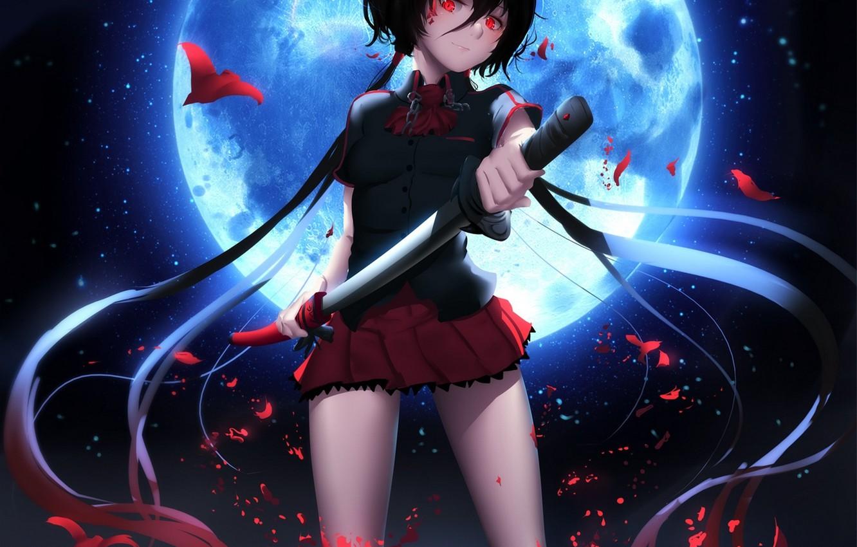 Фото обои девушка, ночь, улыбка, оружие, луна, катана, аниме, арт, форма, школьница, blood+, kisaragi saya