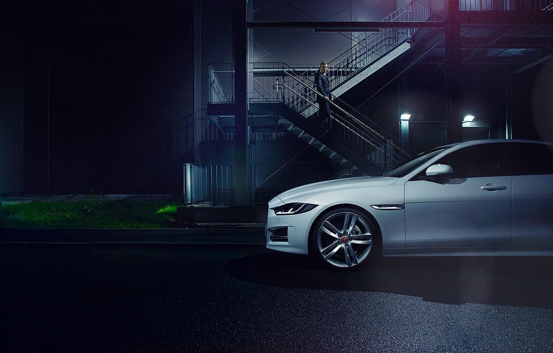 Фото обои Jaguar, Car, White, Side, Automotive, Premium, 2015, Ligth, Nigth