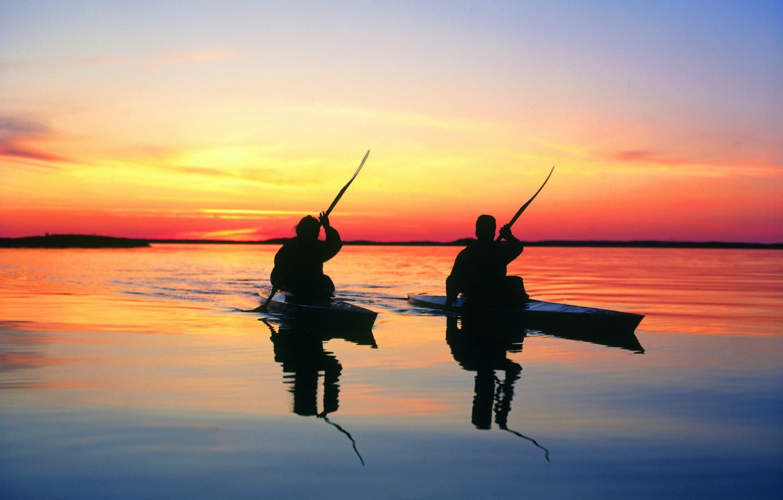 Фото обои закат, озеро, лодки