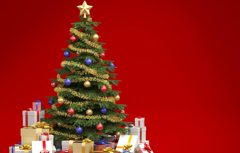 Фото обои елка, подарки, украшение