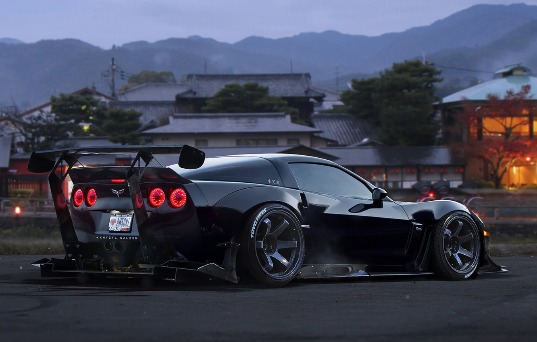 Фото обои Corvette, Chevrolet, Car, Race, Black, Tuning, Future, by Khyzyl Saleem
