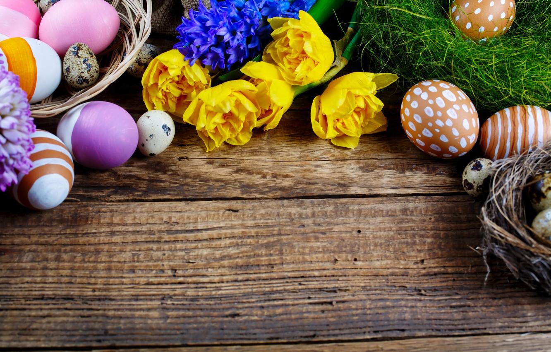 Фото обои цветы, праздник, доски, яйца, Пасха, корзинка, Easter, крашенки, гнёзда