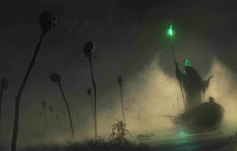 Фото обои свет, зеленый, туман, лодка, капюшон, черепа, посох, перевозчик, SID75, Vitaliy Smyk, green light
