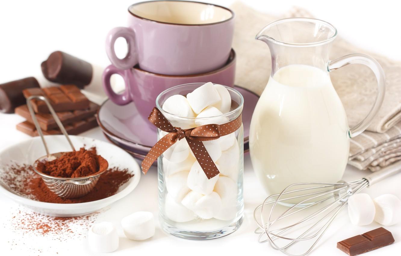 Фото обои шоколад, молоко, чашка, кувшин, блюдца, зефир, салфетки