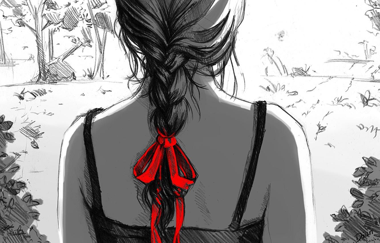 Фото обои девушка, красный, рисунок, арт, черно-белое, коса, бант, спиной, монохромное, dzun